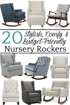 A round-up shopping guide with the highest rated nursery gliders and rocking chairs that have a designer look for less than half the price. #nurseryglider #nurseryrockingchair #nurseryrocker #nursery #nurseryplanning #nurserydecor #blesserhouse
