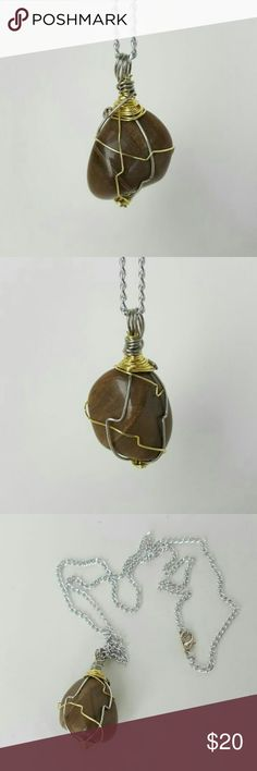 """PETRIFIED WOOD  Business, calms fear and protects WEBSITE www.dgwiring.com   PETRIFIED WOOD: A grounding and protecting stone. Calms fear and good for business success   Purchased  the stone at a local Healing Spiritual Store,  """"The Sacred Journey"""". Handmade beautiful wire wrapping so you can have this precious stone with u at all times.   Necklace measures 19 inches. Handmade Jewelry Necklaces"""