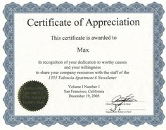 Certificate of appreciation for ms word download at http sample volunteer certificate template 10 free documents in pdf psd yadclub