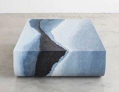 fernando mastrangelo's 'escape' series blends a stratified gradient of tones + textures Pantone Navy, Terrazzo, Concrete Color, Cement, Concrete Interiors, Multipurpose Furniture, Spirited Art, Marble Stones, Gradient Color