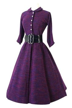 Vintage Long Sleeve Turn-Down Collar A-Line Dress For Women