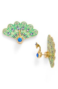 Accessorize to Maximize: 15 Must Have Earrings for Spring! https://thecurvyfashionista.com/2017/05/15-must-have-earrings-spring/ It's OK to show off a bit when you're wearing these pretty as a peacock earrings from Kate Spade New York™ . Looking for more spring statement earrings? From tassels, to shimmery stones, feathers and more... We've got the earrings your earlobes want to be adorned in!!