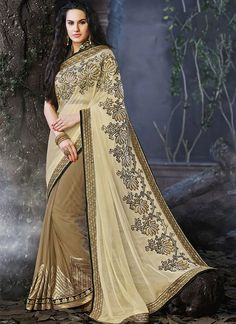 Miraculous Brown & Off White Georgette Saree