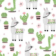 Seamless Pattern With Cute Llama And Cactus Iphone 6 Wallpaper Backgrounds, Cute Backgrounds, Theme Background, Background Patterns, Vector Pattern, Digital Pattern, Free Pattern, Cactus Vector, Wrapping Paper Design