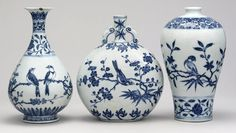 Two bottles and a flask with bird and flower designs, Jingdezhen, Ming dynasty, Yongle period, AD 1403-1424