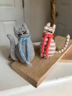 Ready To Ship Valentine Present Hand Knitted Cat by CatDKnits