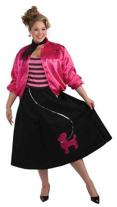 "Rock around the clock in this stylish 50's sock hop costume! Plus size adult costume includes hot pink satin jacket with zipper front and ""Pinkies"" logo on chest, pink and black striped top, and black poodle skirt with pink sequin poodle."