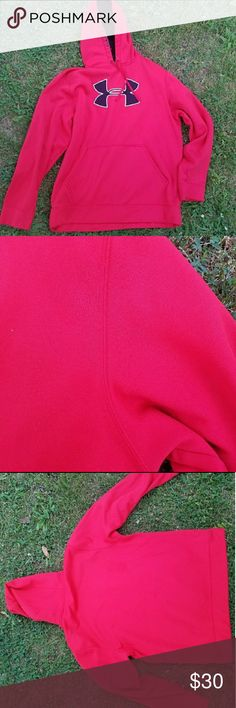 Under Armour Storm Hoodie True red color. Water resistant. GUC. No rips or stains but some minor rubbing at underarm area. Tried to show in photo. Offers considered. No trades. Under Armour Jackets & Coats Performance Jackets