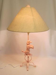 Repurposed Pink Metal Spelter Poodle Lamp L Mendelson by Alveta, $55.00