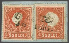 "Lombardy Venetia 1859: 5 soldi red, two examples used on small piece, right hand stamp showing ""enlarged head"" embossing error with the white area spreading ..."