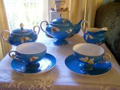 Vintage Hand Painted Blue Nippon Tea Set with Butterflies from guiltypleasures on Ruby Lane
