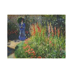 Monet Gladioli Woman Parasol Garden Cotton Linen Wall Tapestry 80