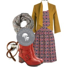 A bright pop is perfect for this time of year. We <3 these bold boots paired with a casual dress and scarf!