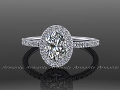 Oval Moissanite Engagement Ring, 14K White Gold Moissanite and Conflict Free Diamond Wedding Ring RE00056