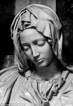 A close up of the statue of the Virgin Mary in Vatican City, taken between Ancient Greek Sculpture, Greek Statues, Angel Statues, Angel Sculpture, Roman Sculpture, Sculpture Art, Mary Tattoo, Jesus Tattoo, Religious Tattoos