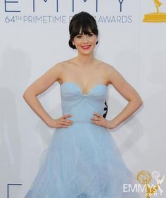Zooey Deschanel in a sweetheart neck light blue gown at the Emmys