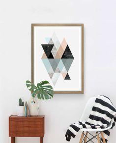 Abstract print, geometric poster, minimalist poster, Scandinavian print, Boho chic art, home decor, wall art, watercolor art, nursery art,