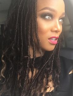 This week, model and the queen of fierceness, Tyra Banks shared some photos on social media of her rocking some pretty faux locs with curly ends.