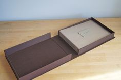 Clamshell Box for Wedding Guest Book, handmade by Hinged Strung Stitched in Portland, Ore.