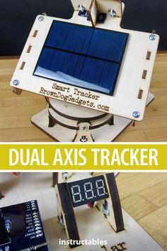 Build a dual axis tracker using Arduino and laser cut parts. Diy Electronics, Electronics Projects, Electronics Accessories, Science Fair Projects, Diy Projects, Solar Tracker, Open Source Projects, Electrical Projects, Diy Solar