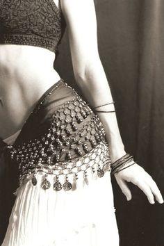 white skirt black belt <3