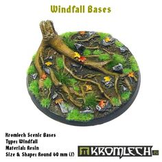 This set contains 1 round 60mm scenic base. Windfall theme.
