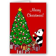 Panda Cartoon Christmas Card!