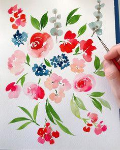 "2,284 Likes, 20 Comments - Jenna Rainey (@monvoirco) on Instagram: ""All the floating floral pieces. #monvoir #watercolor #watercolour #art #artwork #paint #painting…"""
