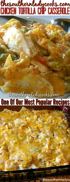 Chicken tortilla chip casserole is one of our most popular recipes. Wonderful for a busy family. #chicken #casseroles #tortilla #homemade #popularrcipes #recipes #poultry #delicious
