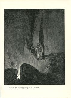 Gustave Dore Print /Bookplate 1948 Flaming Spirits Dante Virgil Divine Comedy #Realism