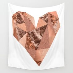 Rose gold heart with glitter and foil. Available in three distinct sizes, our Wall Tapestries are made of 100% lightweight polyester with hand-sewn finished edges. Featuring vivid colors and crisp lines, these highly unique and versatile tapestries are durable enough for both indoor and outdoor use. Machine washable for outdoor enthusiasts, with cold water on gentle cycle using mild detergent - tumble dry with low heat.