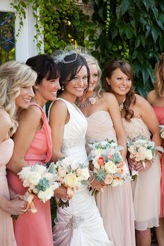 Love this blush/coral maids color palette. Photography by jasminestarphotography.com