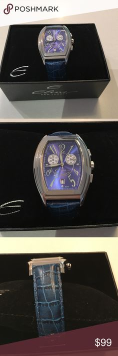 Elini Barokas Chronograph Women's Watch New Yorker edition the dial is beautiful shade of blue with  light green numerals . Blue crocodile leather strap . Case size is 33mm. Great condition just needs new battery Elini Barokas Jewelry