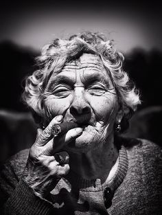 Cigar, old lady, wrinckles, aged, lines of Life, cracks in time, beauty, powerful face, expression, intense, portrait, photo b/w