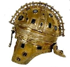 "Reconstruction of Roman helmet (4th/5th century CE) unearthed in 1955 near the Serb village of Berkasovo. The common term for these late Roman helmets is ""Ridge Helmets"". The more elaborate helmets were covered in a gold covering, and would have likely been reserved for the emperor or highest field commanders. Silver or gilded helmets were reserved for field commanders or individuals of higher rank or status.  ©roman-artifacts.com"