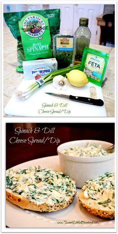 Spinach and Dill Cheese Spread/Dip | SweetLittleBluebird.com