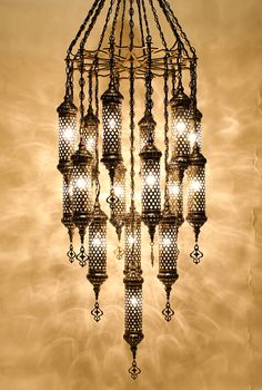 What lovey light and shadow patterns are cast by this chandelier.