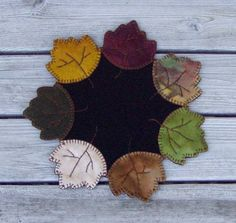 Penny Rug Wool Autumn Leaves Table Runner by happyvalleyprimitive, $40.00