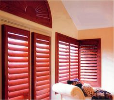 DIY - How to make Plantation Shutters Yourself! Build These Beautiful Shutters Yourself. An Affordable Solution for Expensive Window Shutters. If these are adjustable, they would work as a garage window treatment. Red Shutters, Window Shutters, Window Coverings, Window Treatments, Garage Windows, Off Grid Tiny House, Plantation Style Homes, Studio Interior, Home Buying
