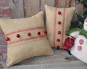 Christmas Pillow Burlap Red Bells 12x12 READY TO SHIP - We Do Custom Pillows. $22.00, via Etsy.