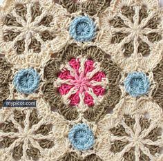 MyPicot   Crochet Octagon Motif: Diagram + step by step instructions  ༺✿Teresa Restegui http://www.pinterest.com/teretegui/✿༻