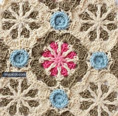 MyPicot | Crochet Octagon Motif: Diagram + step by step instructions  ༺✿Teresa Restegui http://www.pinterest.com/teretegui/✿༻