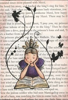 girl reading by Emma Block Book Page Art, Book Pages, Book Art, I Love Books, Good Books, Newspaper Art, Reading Art, Girl Reading, Art Journal Inspiration