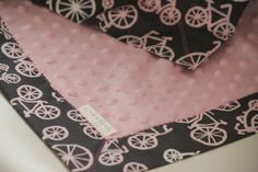 Snuggle Blanket by LukaMish - Bicycles in Bloom $40 minky baby blanket