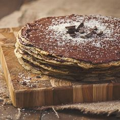 Chocolate Hazelnut Crepe Cake - We took a pile of wholesome, vegan, gluten-free crepes and stacked them in between layers of chocolate hazelnut filling. The result was an indulgent treat. Via @so