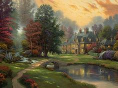 Lakeside manor por Thomas Kinkade.