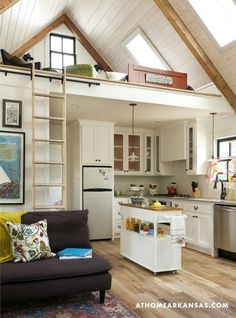 """L-shaped kitchen with up and down cupboards + """"island"""" against the 3rd wall"""