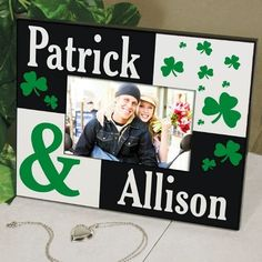 """Just the Two of Us Personalized Colorful Irish Wood Picture Frames. Our Personalized Irish Couple Picture Frame makes a great gift for any lucky couple anytime of the year especially for St. Patrick's Day! Show off your proud Irish heritage with this lovely Personalized Irish Picture Frame. A perfect Irish gift for a newlywed couple. Your Personalized Picture Frame measures 8"""" x 10"""" and holds a 3.5"""" x 5"""" or 4"""" x 6"""" photo. Easel"""
