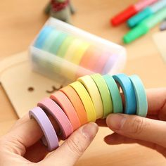10 Pcs Rainbow Washi Sticky Paper Masking Scrapbooking Adhesive Decorative Tape for sale online Diy Stickers, Scrapbook Stickers, Diy Scrapbook, Rainbow Candy, Rainbow Paper, Washi Tape Set, Masking Tape, Duct Tape, Cool School Supplies