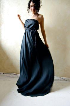 Ethereal fairy gown in black silk -  gothic wedding dress - OOAK alternative wedding dress - open back. €200.00, via Etsy.
